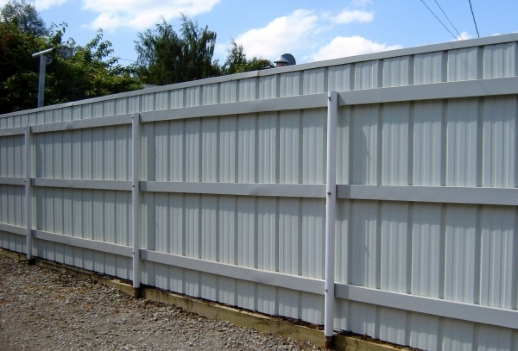 White Corrugated Metal Fence