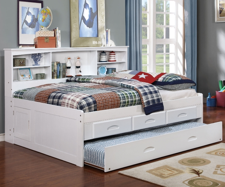 White Full Size Captains Storage Bed With Drawers