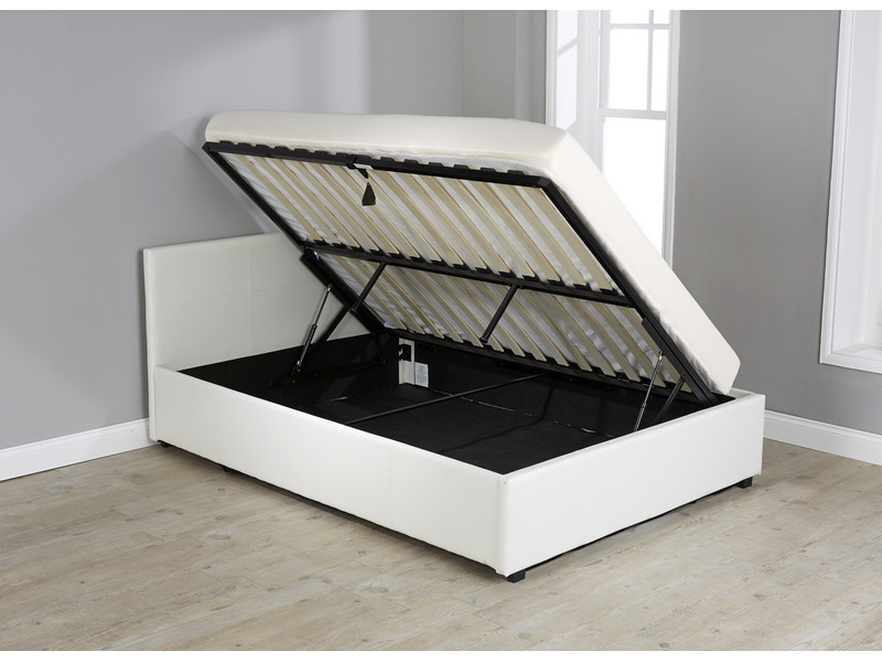 White Hydraulic Lift Storage Bed