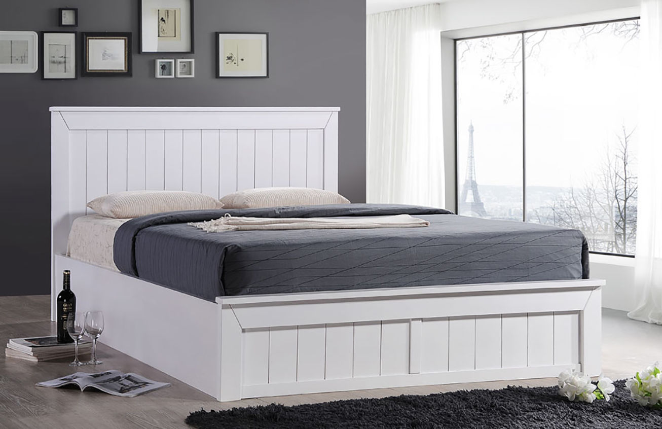 Image of: White Solid Wood Storage Bed