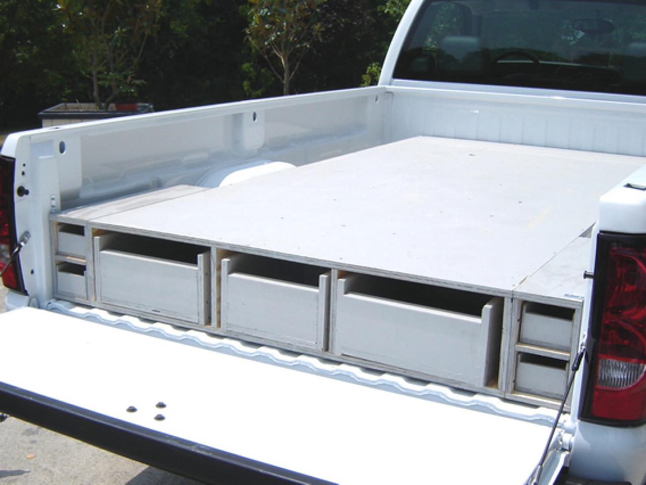 White Truck Bed Storage Drawers