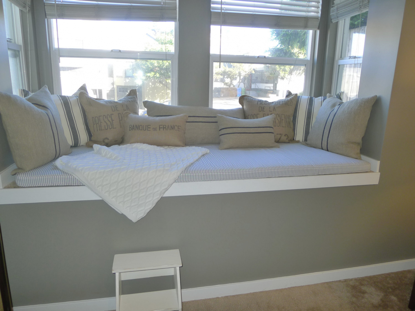 White Window Bench Cushions
