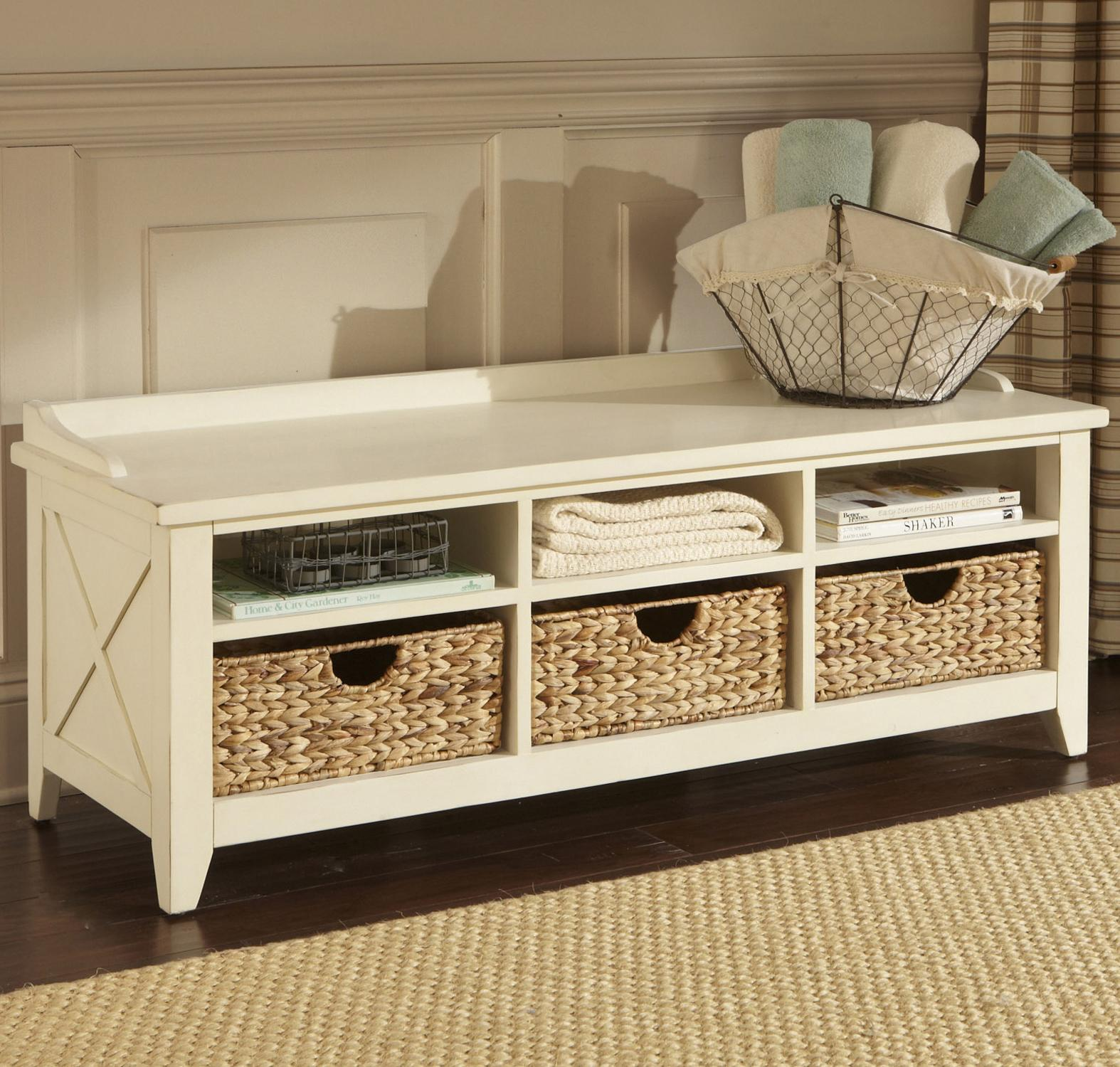 Picture of: White Wooden Bench with Storage