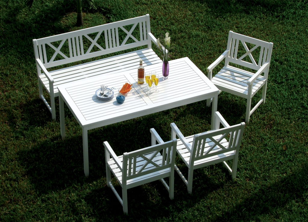 Picture of: White Wooden Benches For Outside