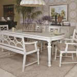 White Wooden Kitchen Table with Bench