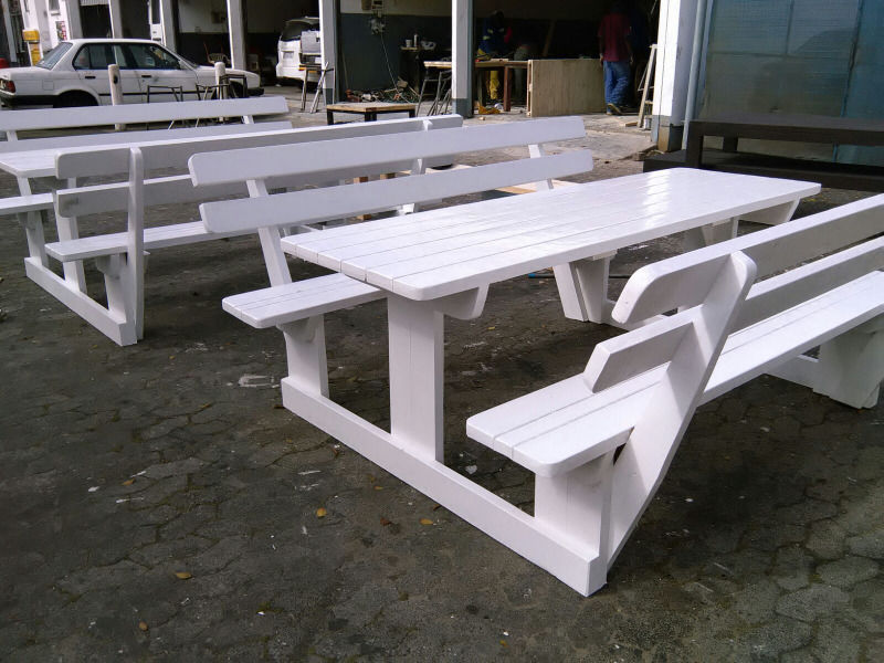 Picture of: White Wooden Picnic Bench