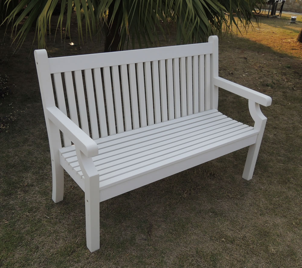 Picture of: White Wooden Porch Bench