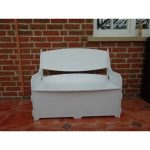 White Wooden Storage Bench