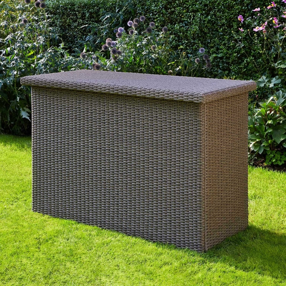Picture of: Wicker Wooden Bench with Storage