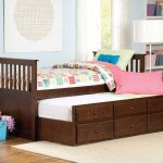 Wood Twin Trundle Bed with Storage