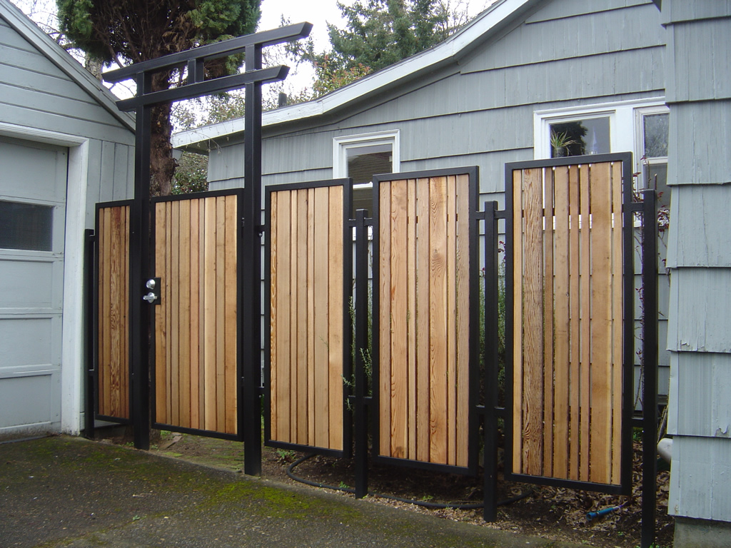 Picture of: Wood and Metal Fence Door