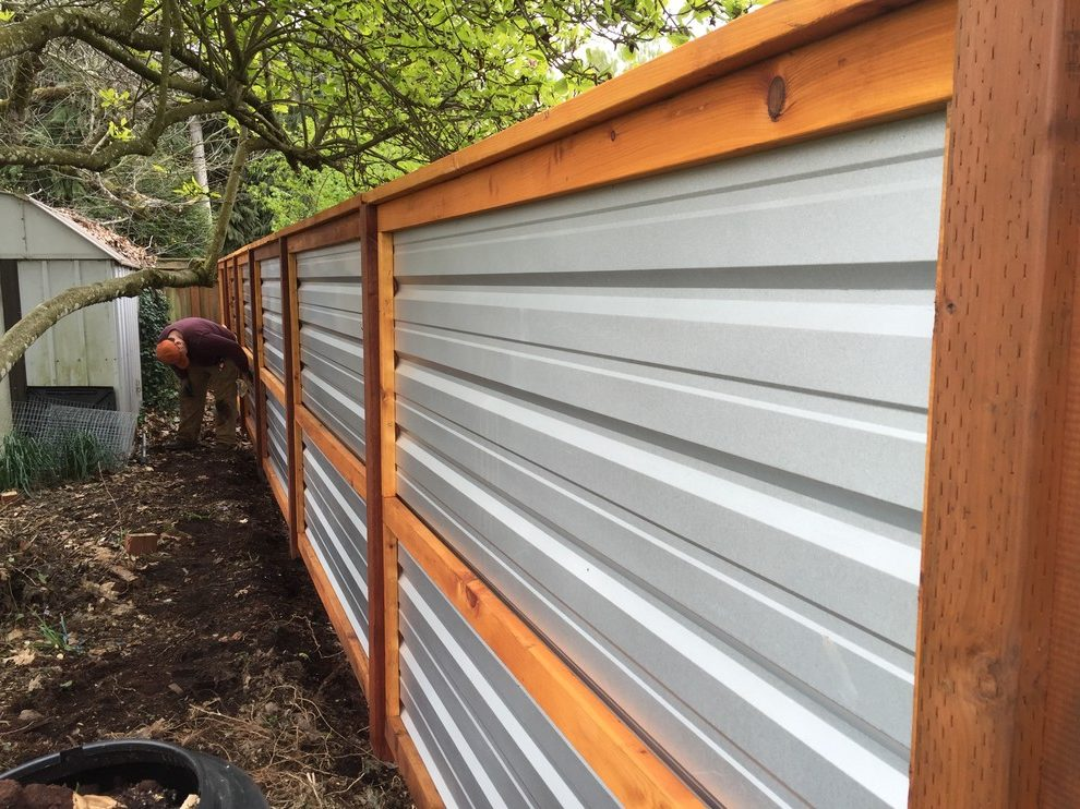 Image of: Wood and Sheet Metal Fence