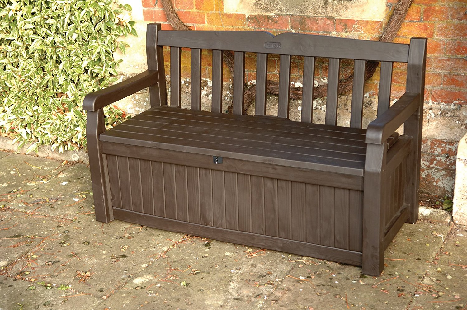 Picture of: Wooden Bench with Storage Arms