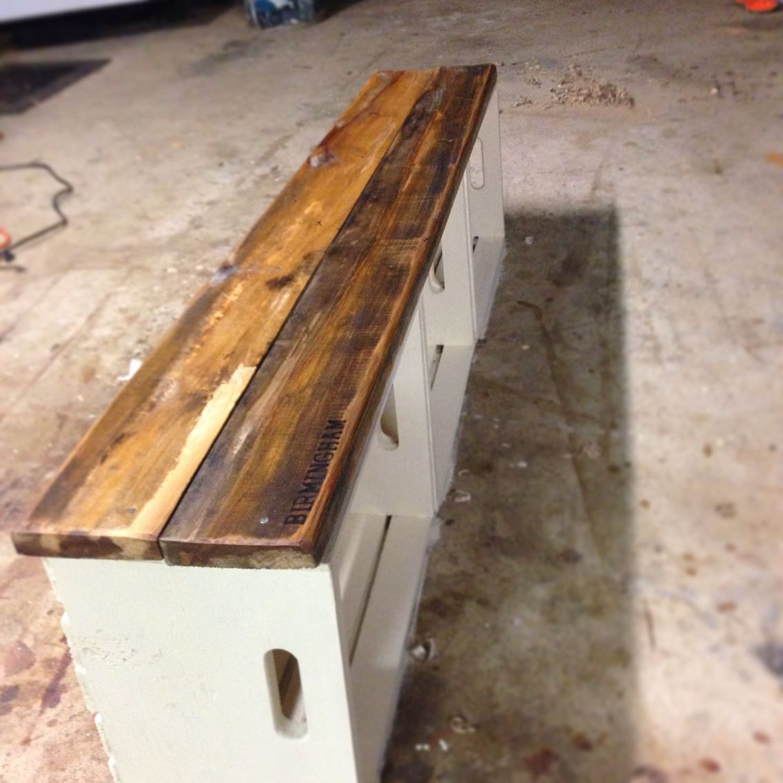Picture of: Wooden Crate Bench Long