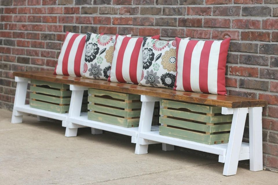 Picture of: Wooden Crate Bench and Pillow