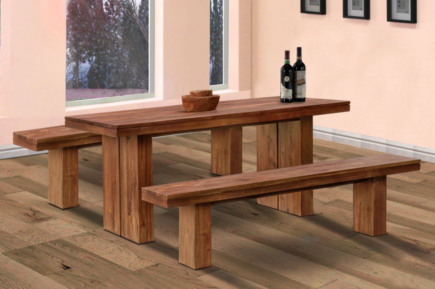 Picture of: Wooden Garden Bench and Table