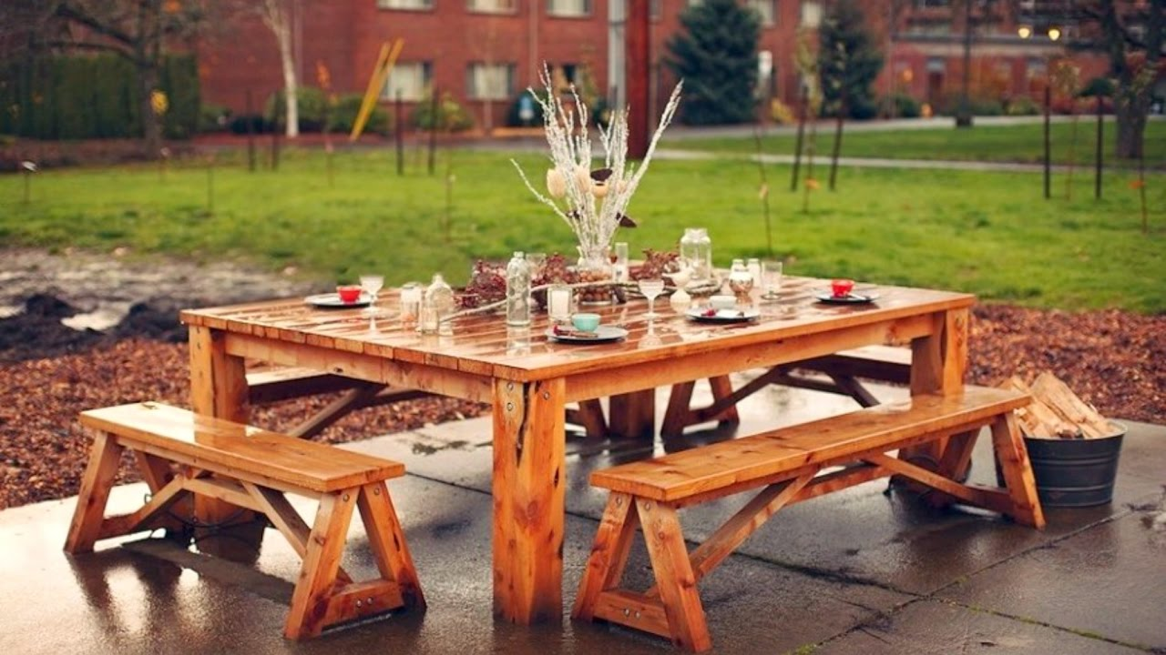 Picture of: Wooden Picnic Bench Decor