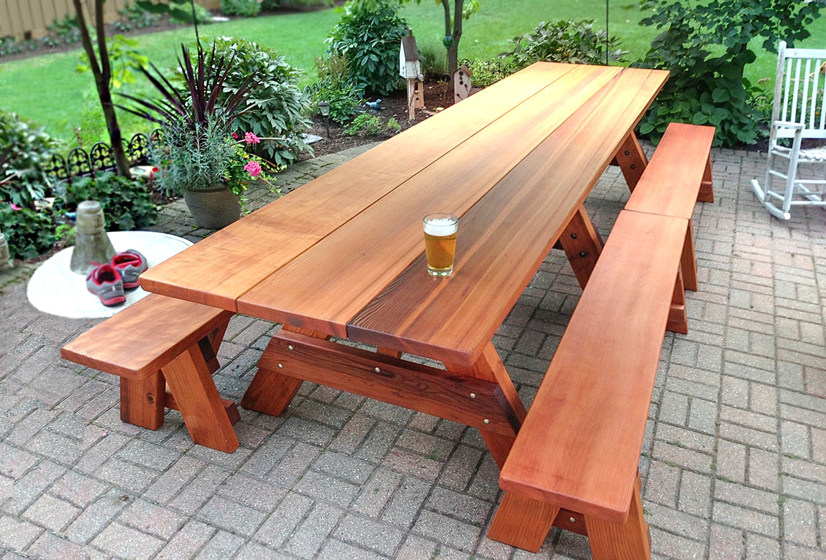 Picture of: Wooden Picnic Bench Long