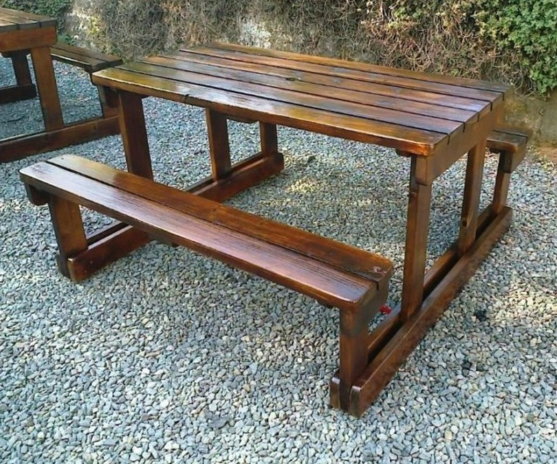 Picture of: Wooden Porch Bench Picnic