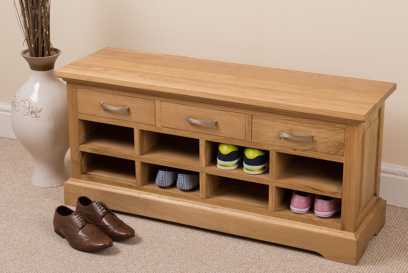 Picture of: Wooden Shoe Bench Drawers