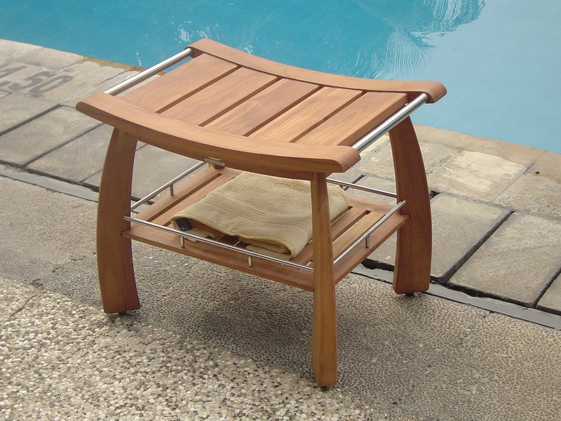 Wooden Shower Bench Pool