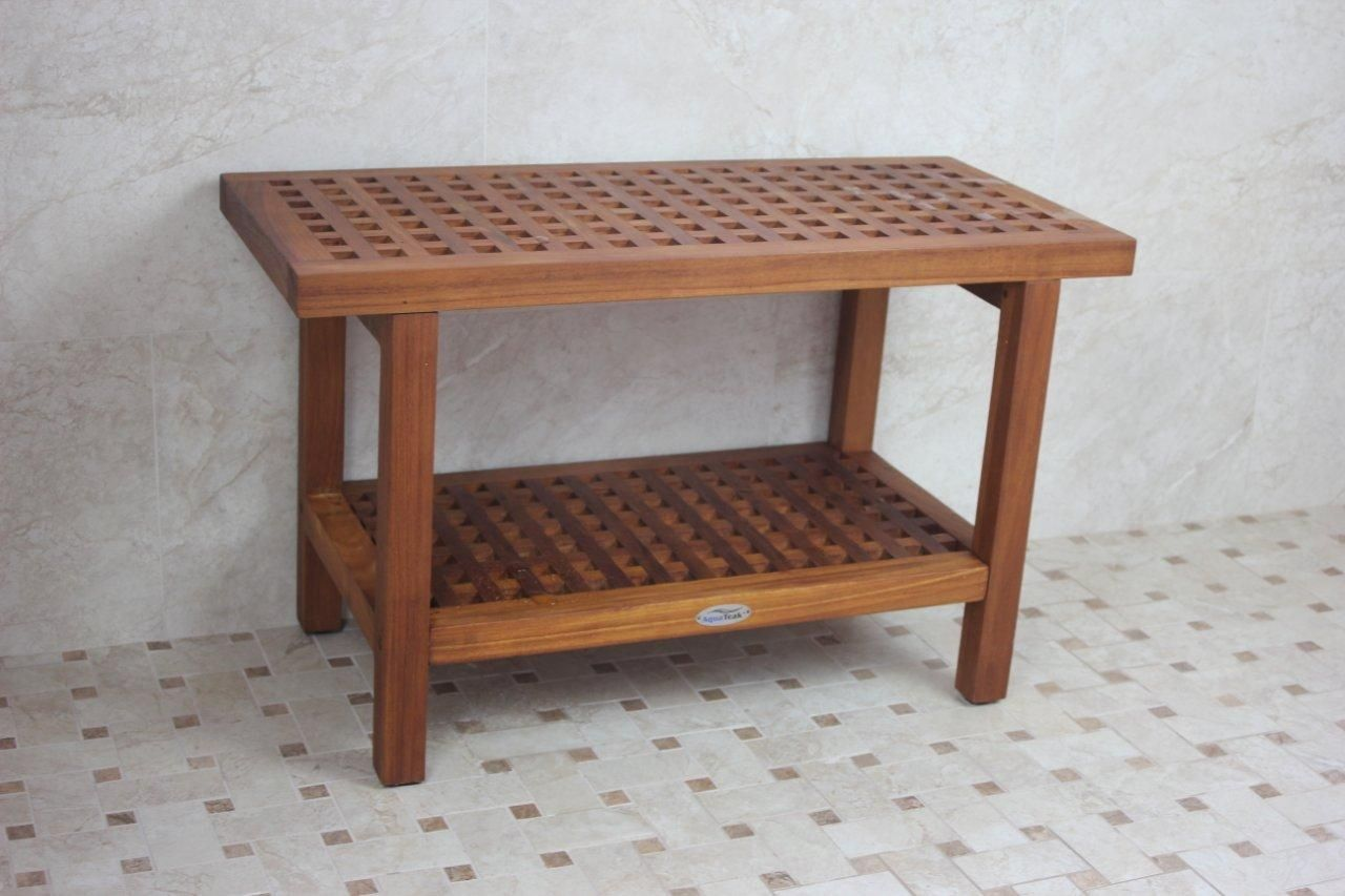 Wooden Shower Bench Shelf