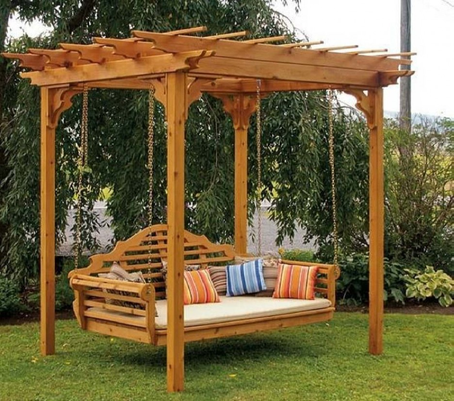 Picture of: Wooden Swing Bench Pergola