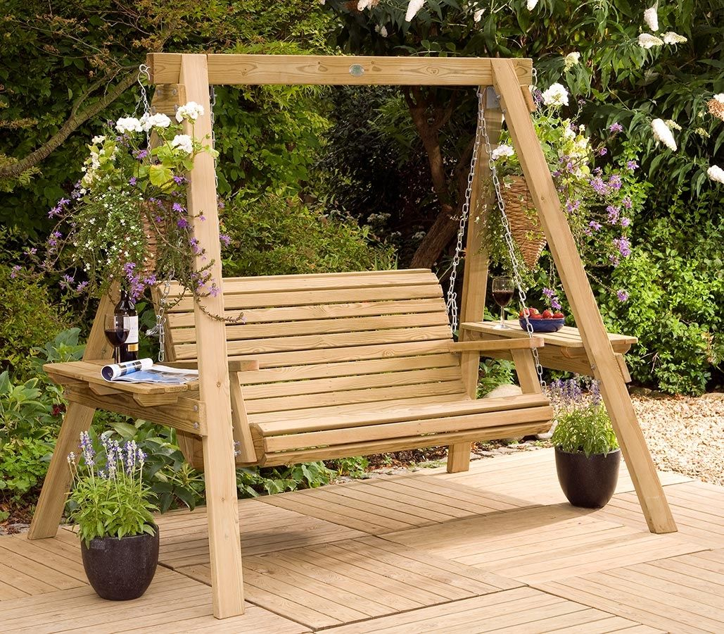 Picture of: Wooden Swing Bench for Backyard