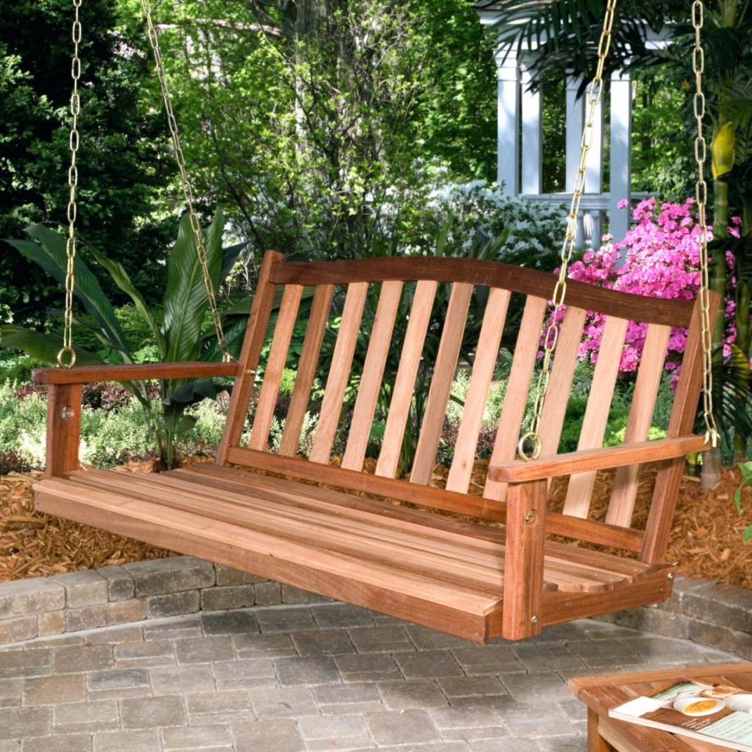 Picture of: Wooden Swing Bench for Patio