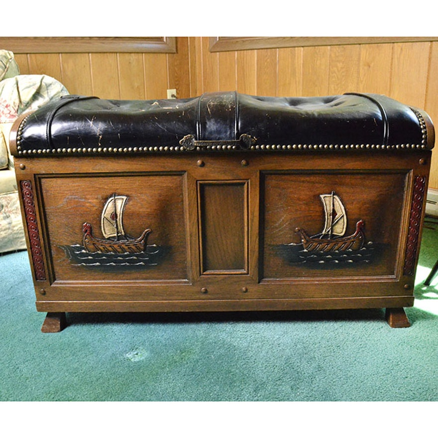 Wooden Trunk Leather Bench Cushion