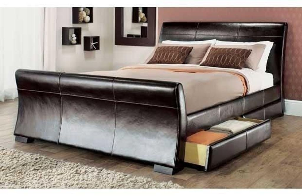 King Size Sleigh Bed With Storage Drawers Design