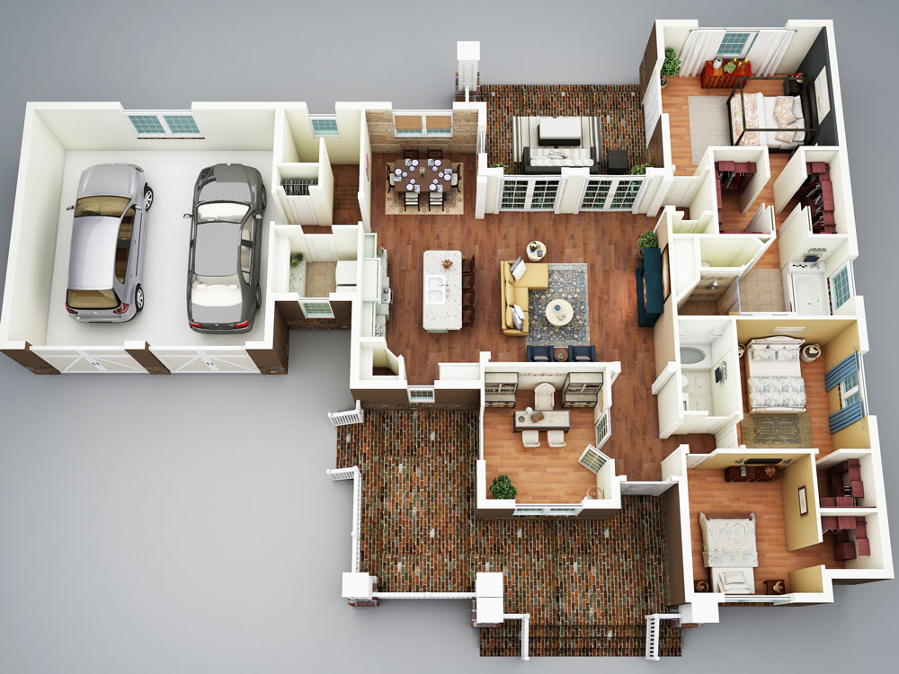 Image of: 3 Bedroom House Plans With Basement Layout