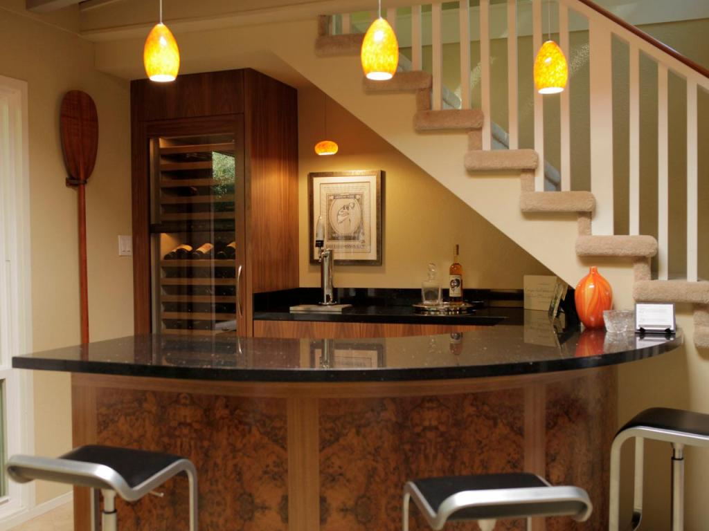 Image of: Basement bar Designs for Small Areas