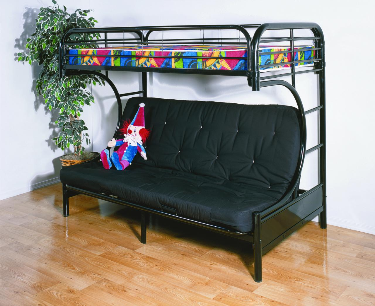 Image of: Black Futon Bunk Bed with Mattress Included