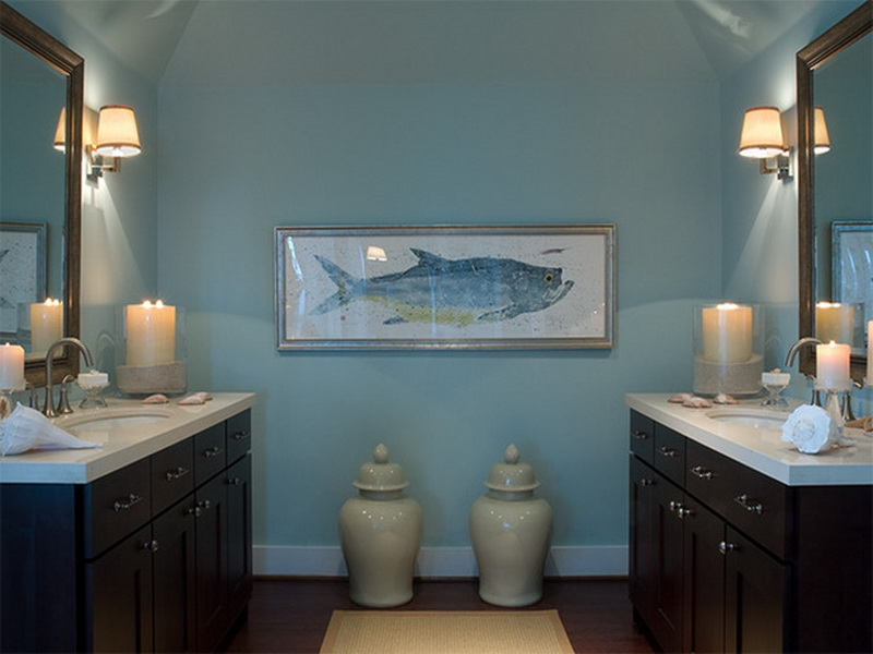 Image of: Decorating Fish Wall Decor for Bathroom