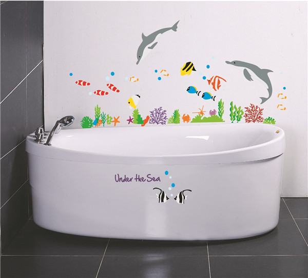 Image of: Fish Wall Decor for Bathroom Sticker