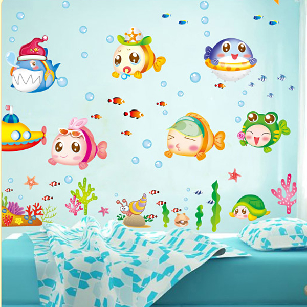 Image of: Fish Wall Decor for Bathroom Waterproof