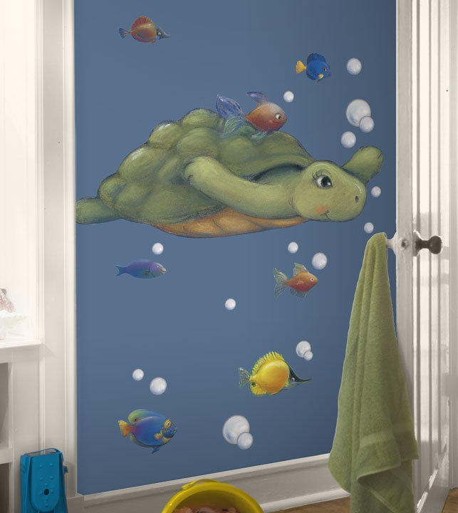 Image of: Fish Wall Decor for Bathroom with Turtle