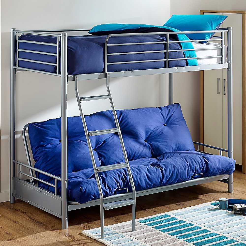 Image of: Futon Bunk Bed with Mattress Included Blue