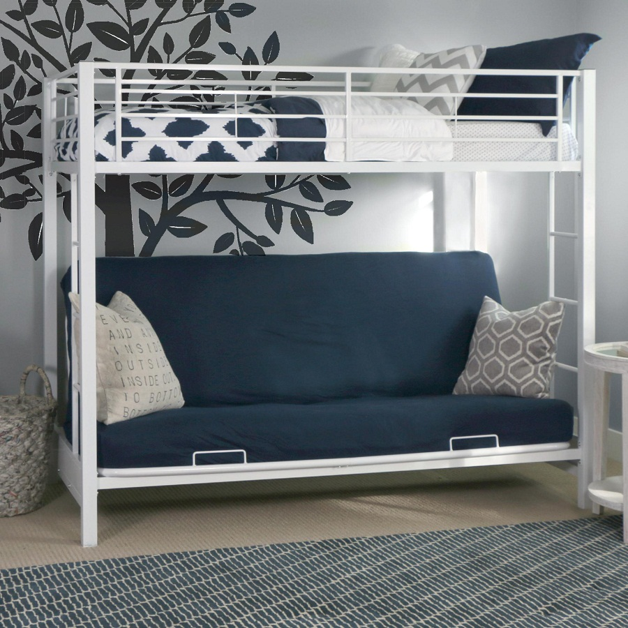 Image of: Futon Bunk Bed with Mattress Included Twin