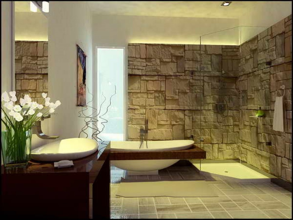 Image of: Modern Bathroom Wall Decor Design