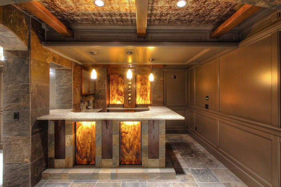 Image of: Modern Best Basement Bar Designs