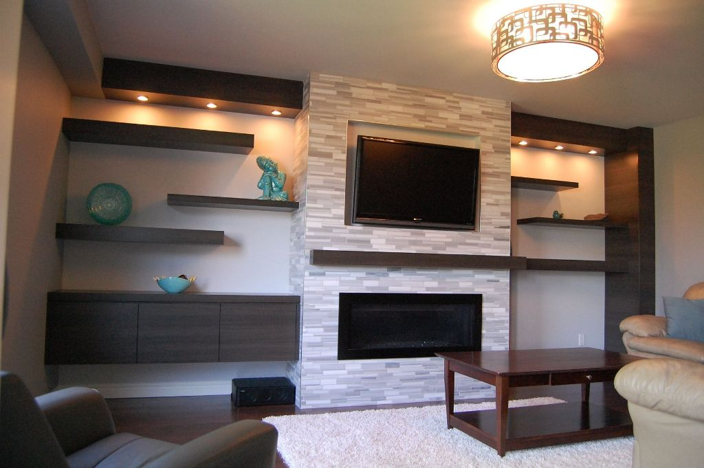Image of: Modern Wall Shelves Decorating Ideas around Fireplace