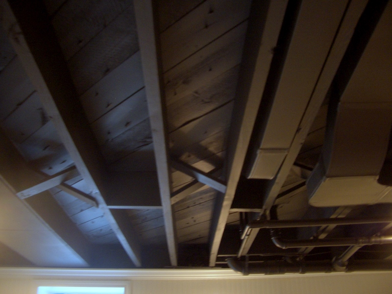 Picture of: Painted Basement Ceiling Black