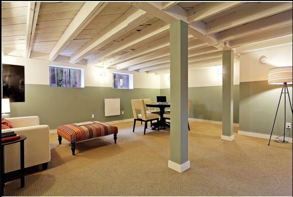 Painted Basement Ceiling Wide