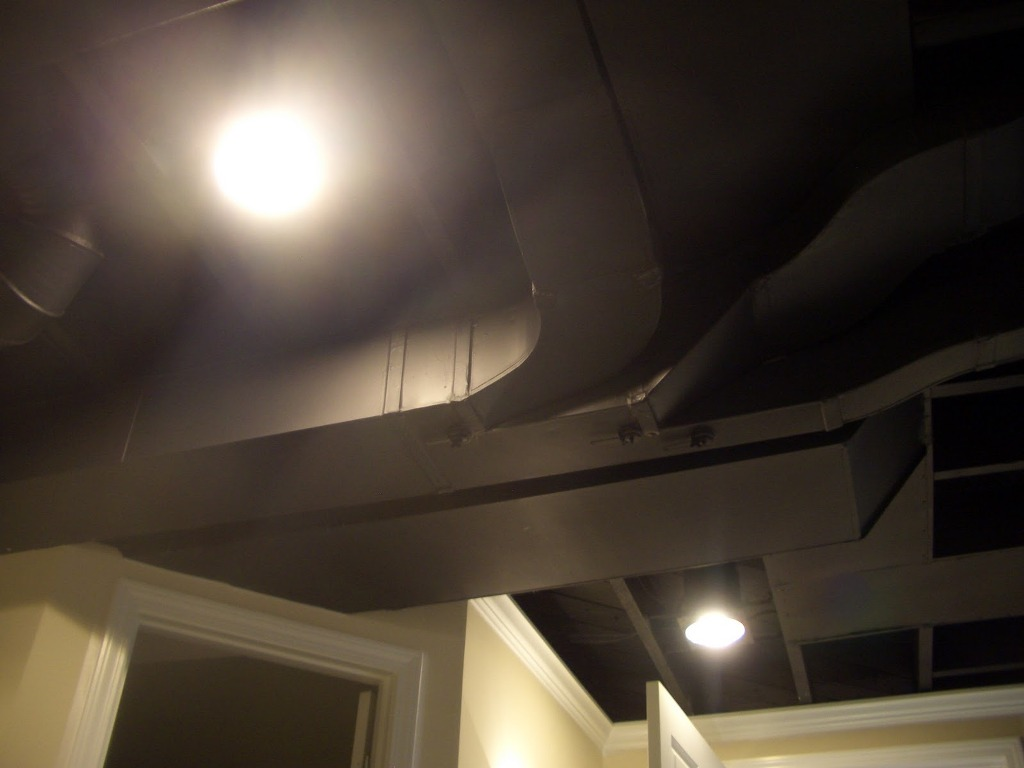 Picture of: Painting Basement Ceiling Black Asbestos Tiles