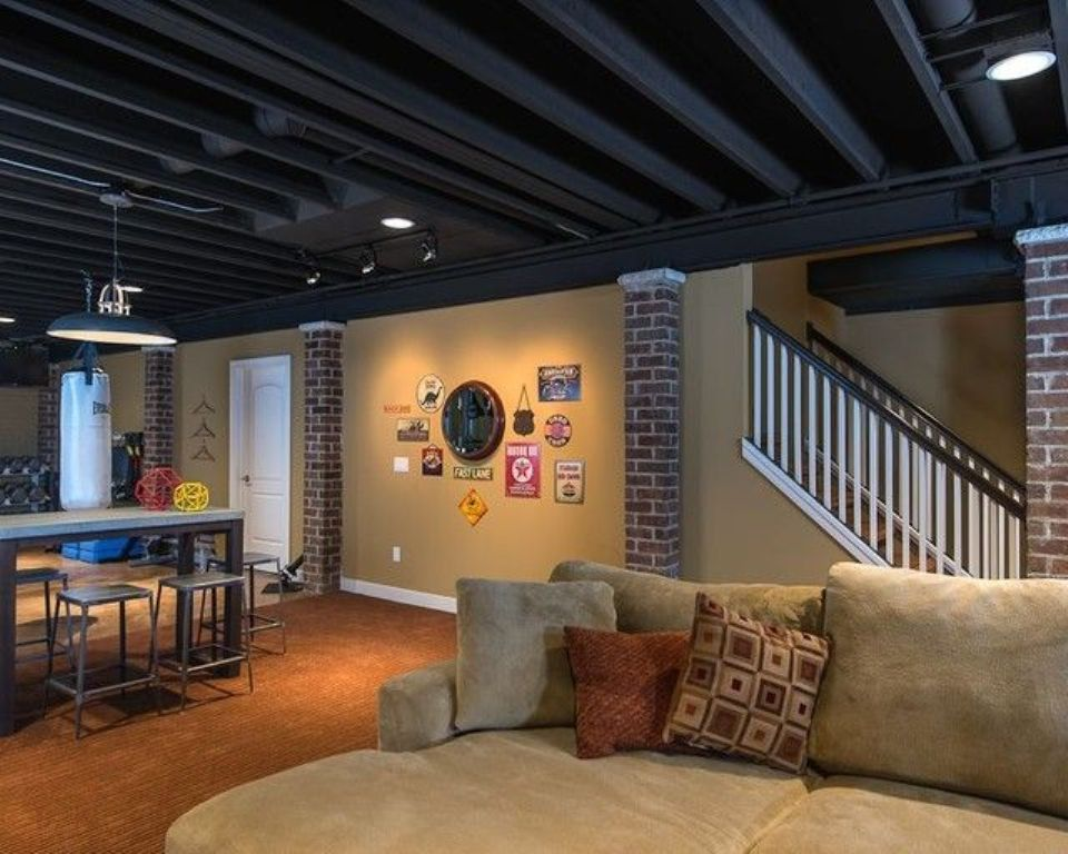 Image of: Painting Basement Ceiling Black Rafters