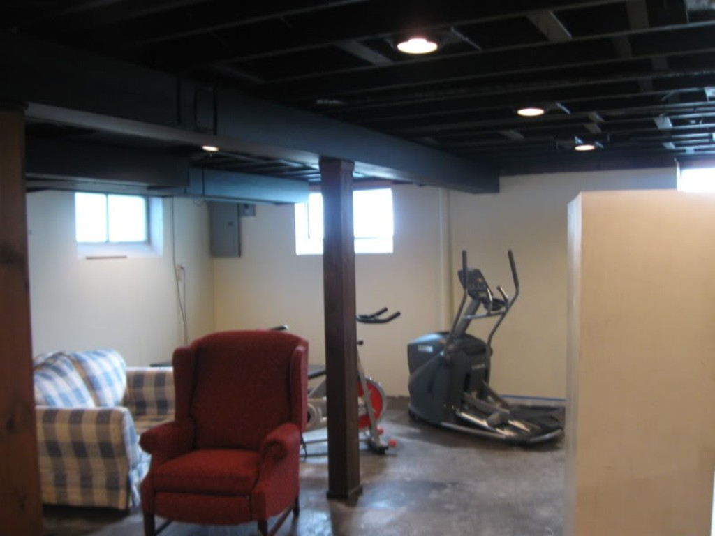 Image of: Painting Basement Ceiling Black Stairs