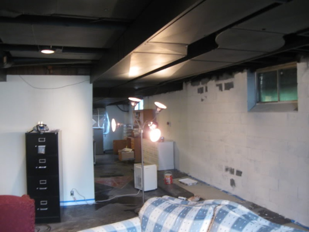 Image of: Painting Basement Ceiling Black Steps