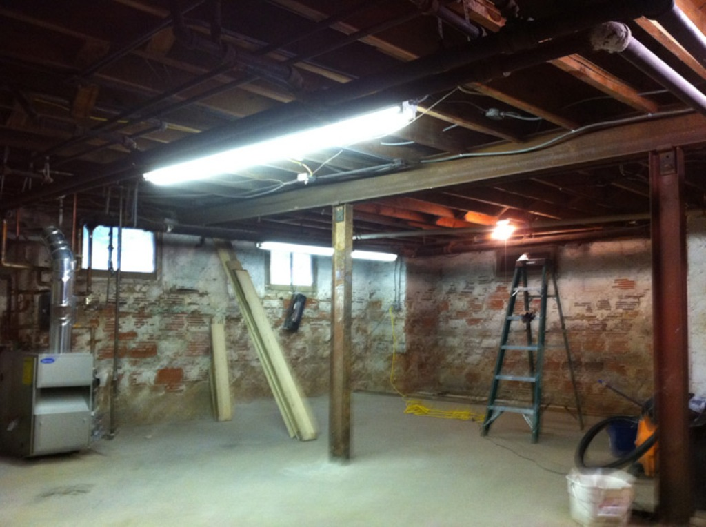 Image of: Painting Basement Ceiling Black Wall